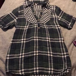 Dark Green and Navy Blue Flannel Blouse